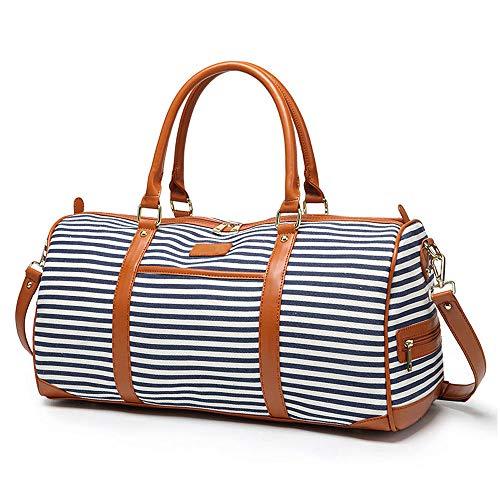 Große Damen Weekender Tasche, Canvas Weekend Bag Reisetasche Reisetasche Sport Gym Duffle Reisetasche mit PU Leder Griff