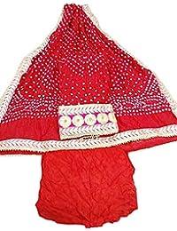Jaipuri Rajasthani Suit Art Silk Bandhej Gota Patti Work Red Color