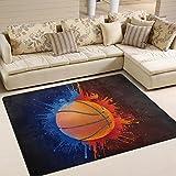 Bereich Teppich, Fire Basketball Print Teppich Designer Super Soft Polyester Große rutschfeste Modern Bad-Teppiche für Schlafzimmer Wohnzimmer Hall Abendessen Tisch Home Decor 121,9x 160cm, Textil, multi, 58 x 80 inch