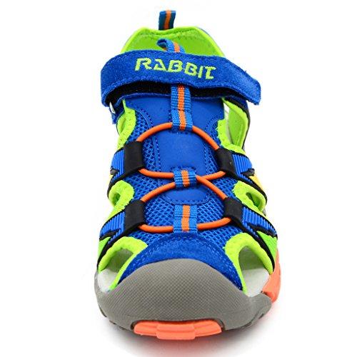Bwiv sandali estivi a strappo ragazzo con solette foderate di pelle sandali sportivi antiscivolo bambino delle taglie 24,5-38 EU Blu e arancione
