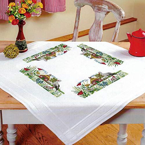Kamaca Stickpackung Tischdecke Störche auf dem Bauernhof Kreuzstich vorgezeichnet aus Baumwolle Stickset mit Stickvorlage (Mitteldecke 80x80 cm) -