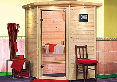 Alicja - Karibu Sauna Plug & Play inkl. 3,6 kW-Ofen - ohne Dachkranz - von Woodfeeling GmbH auf Du und dein Garten