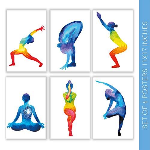 Yoga Dekor   Satz von sechs schönen 11X17 Meditation Wall Art Posters   Diese wunderschönen Drucke werden mit klebrigen Quadraten für eine einfache Installation geliefert   Chakra Poster