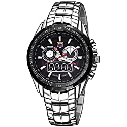 Beautiful Watches , TVG Round Dial Glass Watch Window Luminous &Alarm &Week Display Function Quartz + Digital Double Movement Men Watch with Alloy Band