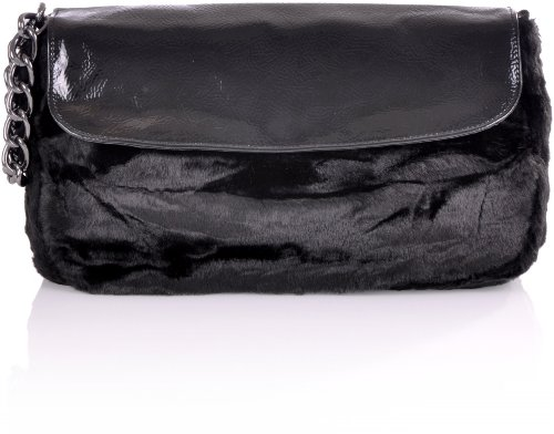 Damen Laptop-brief (Contempo CNTMP Damen Schultertaschen Umhängetaschen Saddle-Bags Fell Design Tasche Schwarz 33x19x6 cm (BxHxT))