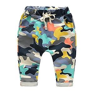 Yying Haremshose für Baby Kinder Mode Camouflage Hosen Weich Elastische Taille Casual Lange Hose mit Taschen für Mädchen Jungen
