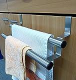 Handtuchhalter mit 2 Stangen Handtuch-Aufhänger für Küchen-schränke Regal Tür