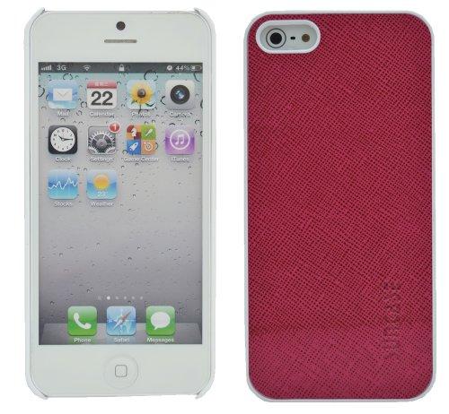 Original SunCase ® Leder-Schale (Handy-Cover) für Apple iPhone SE / iPhone 5S / iPhone 5 in argyle-antik Vollnarbig-Pink