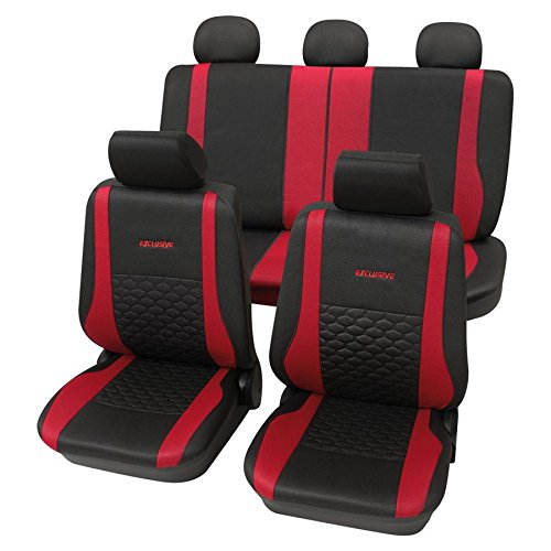 CDExclusiverot1062 17-teilig Eco Class rot schwarz Lederlook Sitzbezug Schonbezüge Schonbezug Autoschonbezug - Ford Sitzbezug 1998