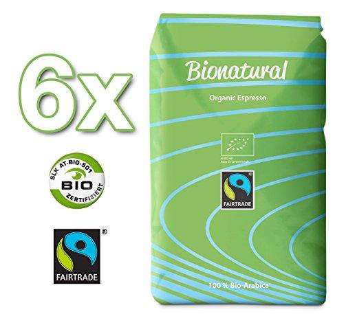 Bionatural Bio Fairtrade Kaffee-Espresso ganze Bohne by J. Hornig, 100% Arabica - 6 x 1000 g