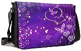 Meffort Inc 17 17.3 Inch Laptop/Notebook Padded Compartment Shoulder Messenger Bag with Shoulder Pad - Purple Flower Heart Butterfly