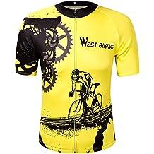 oeste ciclismo Jersey de Ciclismo de manga corta camiseta de mujer/hombre amarillo bicicleta de montaña quick-wicking Outdoor Sport Tops, unisex mujer, Yellow-black