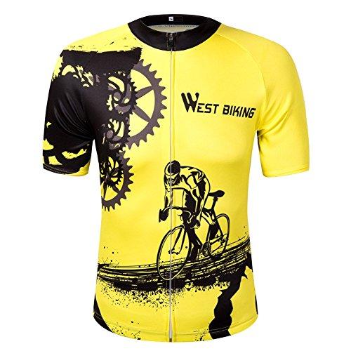 oeste ciclismo Jersey de Ciclismo de manga corta camiseta de mujer/hombre amarillo bicicleta de montaña quick-wicking Outdoor Sport Tops