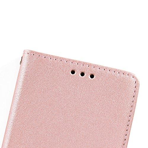 Hülle für Sony Xperia XA1 Ultra, Tasche für Sony Xperia XA1 Ultra, Case Cover für Sony Xperia XA1 Ultra, ISAKEN Farbig Blank Muster Folio PU Leder Flip Cover Brieftasche Geldbörse Wallet Case Ledertas Nappa Blank Rosegold
