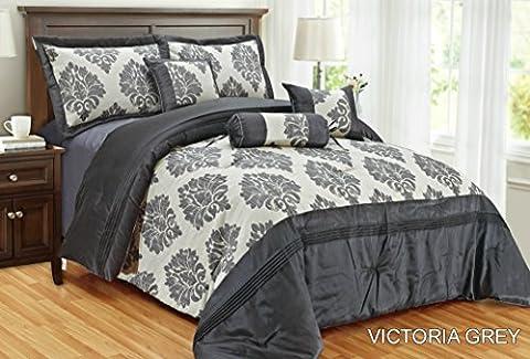 New Victoria Luxus weichem Jacquard 7-teilig Tagesdecke Tröster Quilt Polyester gefüllt Polyester gefüllt Neckroll Kissen Frühstück quadratisch Kissen Farbe grau Größe King