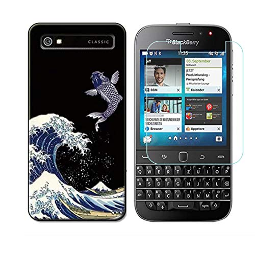 YZKJ Funda para Blackberry Classic Q20 Transparente Carcasa Silicona TPU Suave Caso Case + Protector de Pantalla Cristal Templado Film Película Protectora para Blackberry Classic Q20 - NM14
