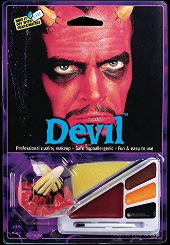 Horror-Shop 10-tlg. Teufel Make-up Kit mit Hörner für Luzifer Kostüme an Halloween