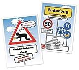 Lustige, Witzige Einladungskarten für runden Geburtstag - kostenloser Eindruck Ihres Textes - JEDES Alter - 20 Karten 17 x 12 cm groß