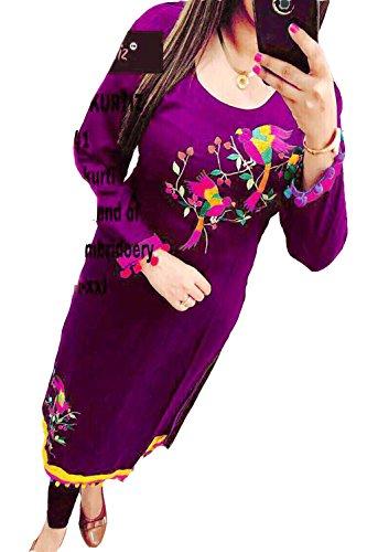 Khushi Creation Georgette Semi-Stitched Kurti(Selfie-53_Purple_Free Size)