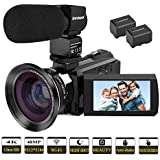 Video Camera 4K Camcorder Kenuo Full HD 60FPS WiFi Digital Camera 48MP 3.0 inch Touch Screen IR Night Vision 16X Digital Zoom Video Recorder External Microphone Wide Angle Lens With 2 Batteries