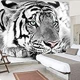 3D Murales Papel Pintado Pared Calcomanías Decoraciones Fondo De Entrada De Dormitorio De Sala De Estar De Tigre Animal Blanco Negro Art º Chicas Habitación (W)140X(H)100Cm