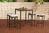 CLP Poly-Rattan Garten-Bar Set ALIA (4 x Barhocker, 4 x Sitzkissen, Bartisch 84 x 84 cm, Höhe 110 cm) braun-meliert