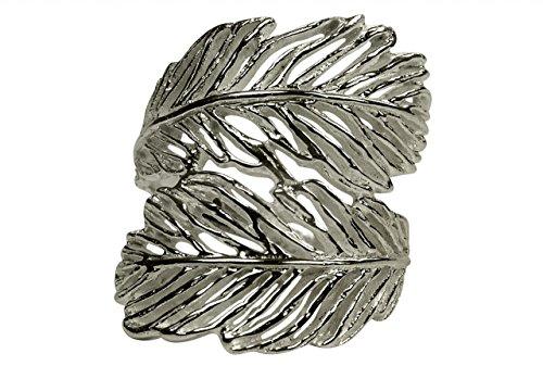 SILBERMOOS Ring Damenring Feder Blatt matt Sterling Silber 925, Größe:56 (17.8)