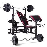 Hop-Sport Multifunktions Hantelbank 1075 mit Gewichten 60kg bis 150kg und Lang- und Curlhantelstange (90kg Gewicht: Lang- & Curlstange)