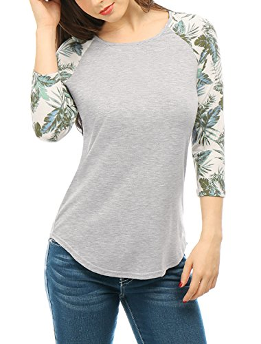 Jersey Raglan-Ärmel (Allegra K Damen Blumenmotiven 3/4 Raglan Ärmel Getäfelte T-Shirt Top,Grau-Leaves/L (EU 44))