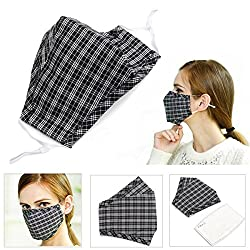 Cycling Anti Wind Dust Flu Nose Mouth Muffle Cloth Cover Barrier Activated Carbon Cotton Face Mask Ear Loop (Black)