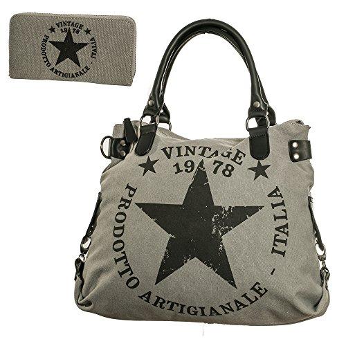be192452885e4 Handtasche stern tasche sterne damen schultertasche canvas henkeltasche  canvas Henkeltasche set TUS03 Grau
