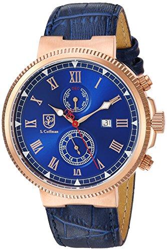 S. Coifman Men's 'Heritage' Quartz Gold and Leather Casual Watch, Color:Blue (Model: SC0382)