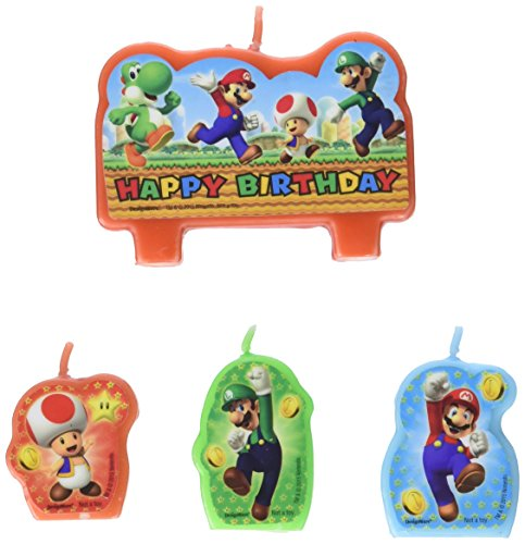 Nintendo Super Mario Bros Birthday Party Cake Candles 4 ct by Amscan