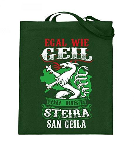 Hochwertiger Jutebeutel (mit langen Henkeln) - STEIRA SAN GEILA Green