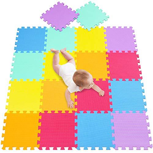 meiqicool tappeto da gioco in foam - tappeto da gioco attività puzzle multicolore,tappeto da gioco bambini-tappeto gioco bimbo con - ideale per yoga, allenamento, giochi bimbi 142 x 114cm