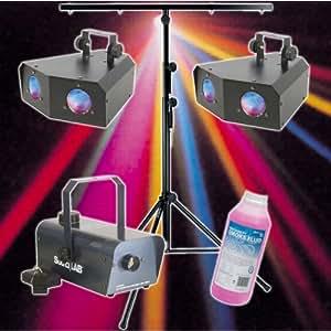 Disco Kit with 2 LED Light Effects, Smoke Machine & T-bar