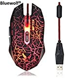 Bluewolf® Gaming Mouse, MFTEK USB Wired LED Red/Blue/Purple Backlit Illuminated 7 Buttons Silent Mouse - Black