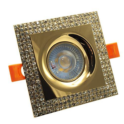 LED-Einbaustrahler 5 W quadratisch Rahmen Glitter Spot 38 Grad Loch 65 mm Bianco caldo gold