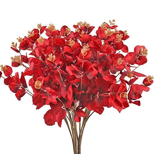 Huaesin 2pcs fiori artificiali rossi 5 rami fiori finti bouquet fiori artificiali composizione fiori finti per decorazioni interno esterno rami eucalipto pianta per soggiorno casa balcone vaso