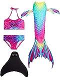 onlight Cola de Sirena Traje de baño con Aleta niñas para Nadar