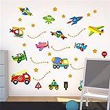 Stickers muraux maison stickers muraux stickers vapeur chambre d'enfants de dessin animé maternelle école primaire école décoration voiture camion avion vaisseau spatial, 45 * 30CM