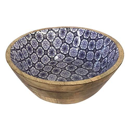 casamia Salatschüssel Obstschale Deko Schale ø 30 cm Mangoholz mit Keramikdekor lebensmittelgeeignet Farbe blau/weiß
