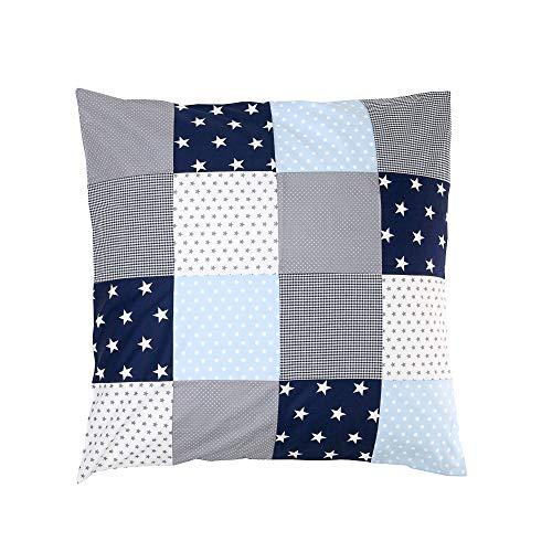 ULLENBOOM ® Patchwork Kissen 80x80 cm mit Füllung Blau Hellblau Grau (mit Reißverschluss, Bezug auch für Dekokissen geeignet, Motiv: Sterne, Patchwork) -