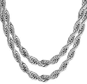 5a6d99d6af4 Image Unavailable. Image not available for. Colour: Meenaz Men Jewellery  Valentine Silver Rope Chain 2 Pcs Combo Necklace for Men Husband Boys  Boyfriend