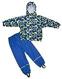 Elka–Tuta impermeabile pioggia pantaloni + giacca impermeabile per bambini, a righe e, monocolore colori varie taglie 220g/poliestere, Bambino - ragazza, Blau Kreis, 116