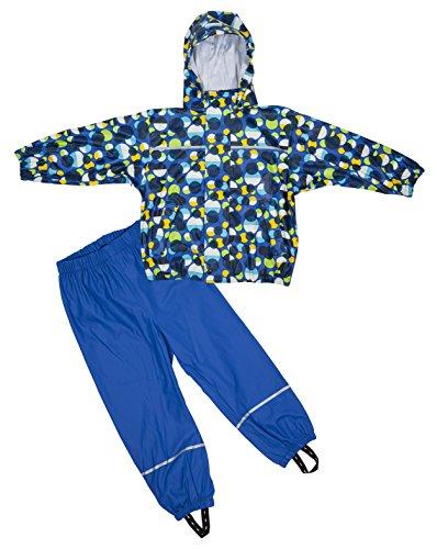 Elka Regenanzug Regenhose + Regenjacke für Kinder, gestreift und einfärbig Farben viele Größen 220g/Polyester (116, Blau Kreis)