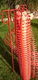Set 4 Absperrhalter und 10 Meter Fangzaun, Absperrnetz, Maschenzaun, Bauzaun auf Rolle Kunststoff extrem Reissfest, 150 gr qm