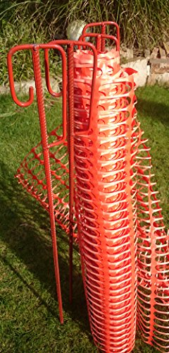 Set 4 Absperrhalter und 10 Meter Fangzaun, Absperrnetz, Maschenzaun, Bauzaun auf Rolle Kunststoff extrem Reissfest, 150 gr qm - Extreme-garten
