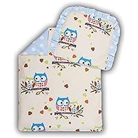 2 tlg. Kinderwagenset Baby Bettw/äsche Garnitur f/ür Kinderwagen Kissen Decke F/üllung Anker gro/ß blau//Steifenmuster