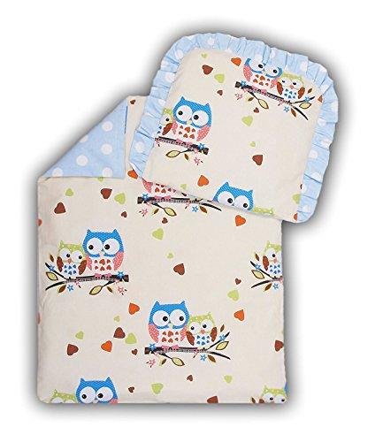 Amilian® Kinderwagenset Baby Bettwäsche Garnitur für Kinderwagen Kissen Decke Füllung Eule Ecru Blau Groß/Pünktchen blau (4 tlg.)